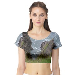 Pacific Ocean 2 Short Sleeve Crop Top (Tight Fit)