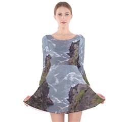 Pacific Ocean 2 Long Sleeve Velvet Skater Dress