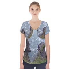 Pacific Ocean 2 Short Sleeve Front Detail Top