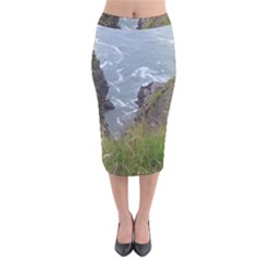 Pacific Ocean 2 Velvet Midi Pencil Skirt