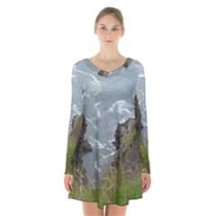 Pacific Ocean 2 Long Sleeve Velvet V-neck Dress