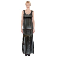 Alpine Hut Almhof Old Wood Grain Maxi Thigh Split Dress