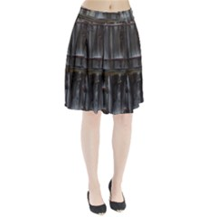 Alpine Hut Almhof Old Wood Grain Pleated Skirt