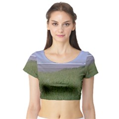 Pacific Ocean  Short Sleeve Crop Top (Tight Fit)