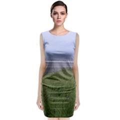 Pacific Ocean  Sleeveless Velvet Midi Dress
