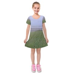 Pacific Ocean  Kids  Short Sleeve Velvet Dress