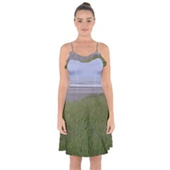 Pacific Ocean  Ruffle Detail Chiffon Dress