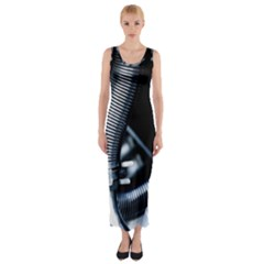 Motorcycle Details Fitted Maxi Dress