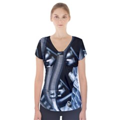 Motorcycle Details Short Sleeve Front Detail Top