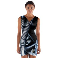 Motorcycle Details Wrap Front Bodycon Dress