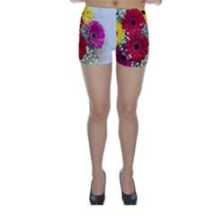 Flowers Gerbera Floral Spring Skinny Shorts