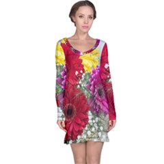 Flowers Gerbera Floral Spring Long Sleeve Nightdress