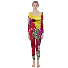 Flowers Gerbera Floral Spring Long Sleeve Catsuit