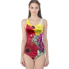 Flowers Gerbera Floral Spring One Piece Swimsuit
