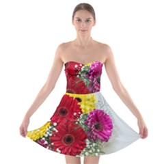 Flowers Gerbera Floral Spring Strapless Bra Top Dress