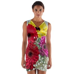 Flowers Gerbera Floral Spring Wrap Front Bodycon Dress