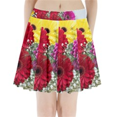 Flowers Gerbera Floral Spring Pleated Mini Skirt