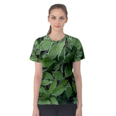 Texture Leaves Light Sun Green Women s Sport Mesh Tee