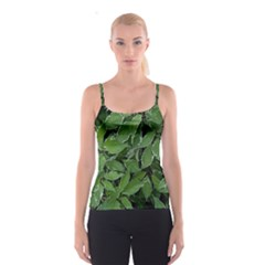 Texture Leaves Light Sun Green Spaghetti Strap Top