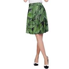 Texture Leaves Light Sun Green A-Line Skirt
