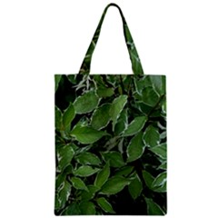 Texture Leaves Light Sun Green Zipper Classic Tote Bag