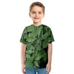 Texture Leaves Light Sun Green Kids  Sport Mesh Tee