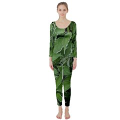 Texture Leaves Light Sun Green Long Sleeve Catsuit