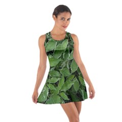 Texture Leaves Light Sun Green Cotton Racerback Dress