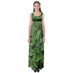 Texture Leaves Light Sun Green Empire Waist Maxi Dress
