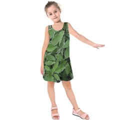 Texture Leaves Light Sun Green Kids  Sleeveless Dress