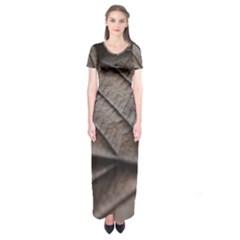 Leaf Veins Nerves Macro Closeup Short Sleeve Maxi Dress