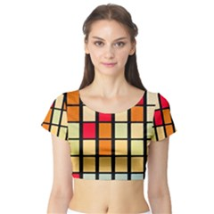 Mozaico Colors Glass Church Color Short Sleeve Crop Top (Tight Fit)