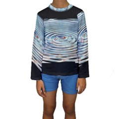 Wave Concentric Waves Circles Water Kids  Long Sleeve Swimwear