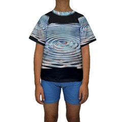 Wave Concentric Waves Circles Water Kids  Short Sleeve Swimwear