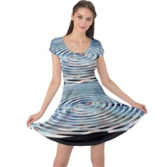 Wave Concentric Waves Circles Water Cap Sleeve Dresses