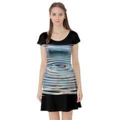 Wave Concentric Waves Circles Water Short Sleeve Skater Dress