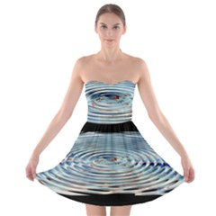 Wave Concentric Waves Circles Water Strapless Bra Top Dress