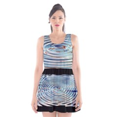 Wave Concentric Waves Circles Water Scoop Neck Skater Dress