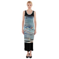 Wave Concentric Waves Circles Water Fitted Maxi Dress
