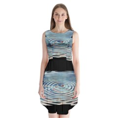 Wave Concentric Waves Circles Water Sleeveless Chiffon Dress