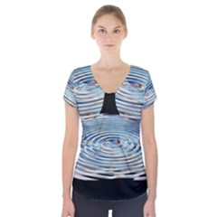 Wave Concentric Waves Circles Water Short Sleeve Front Detail Top