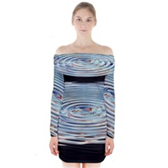 Wave Concentric Waves Circles Water Long Sleeve Off Shoulder Dress