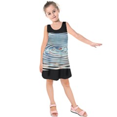 Wave Concentric Waves Circles Water Kids  Sleeveless Dress