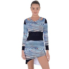 Wave Concentric Waves Circles Water Asymmetric Cut Out Shift Dress