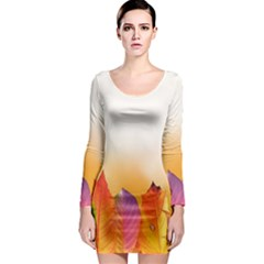 Autumn Leaves Colorful Fall Foliage Long Sleeve Bodycon Dress