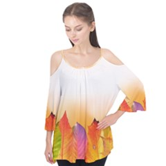 Autumn Leaves Colorful Fall Foliage Flutter Tees