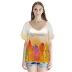 Autumn Leaves Colorful Fall Foliage Flutter Sleeve Top