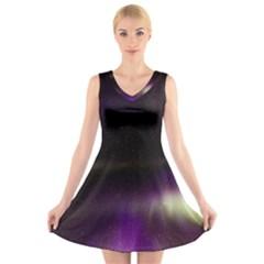 The Northern Lights Nature V-Neck Sleeveless Skater Dress