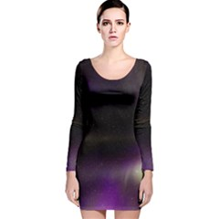 The Northern Lights Nature Long Sleeve Velvet Bodycon Dress