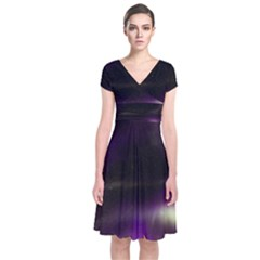 The Northern Lights Nature Short Sleeve Front Wrap Dress